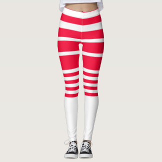 Red And White Striped Shorts Leggings