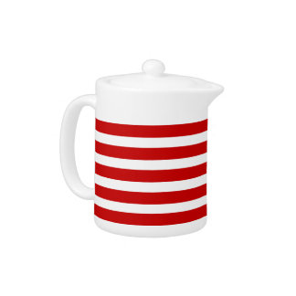 Red and white striped teapot