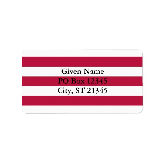 Red and White Stripes Address Label