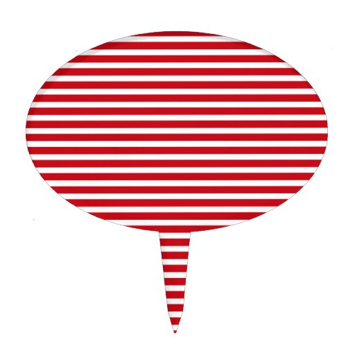 Red and White Stripes Cake Topper