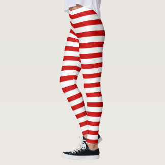 Red and White Stripes Christmas Elf Pattern Leggings