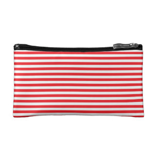Red and White Stripes Cosmetic Bag
