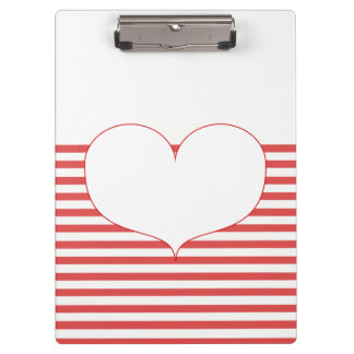 Red and White Stripes & Heart Clipboard