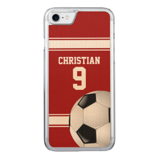 Red and White Stripes Jersey Soccer Ball Carved iPhone 8/7 Case
