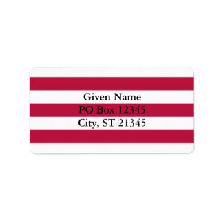 Red and White Stripes Label