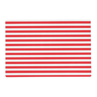 Red and White Stripes Laminated Placemat