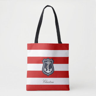 Red and White Stripes Nautical with Your Name Tote Bag