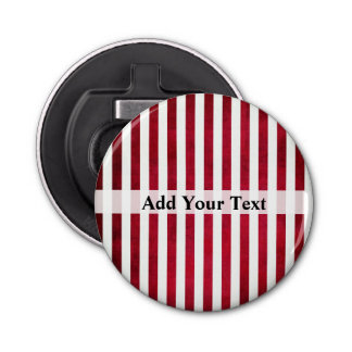 Red and White Stripes on Fabric Texture by STaylor Bottle Opener