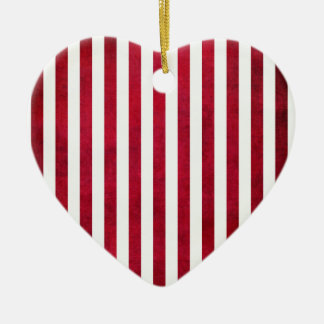 Red And White Stripes On Fabric Texture Ceramic Heart Decoration
