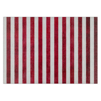 Red And White Stripes On Fabric Texture Cutting Board
