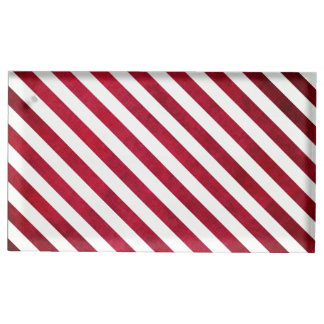 Red And White Stripes On Fabric Texture Table Card Holders