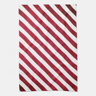Red And White Stripes On Fabric Texture Hand Towel