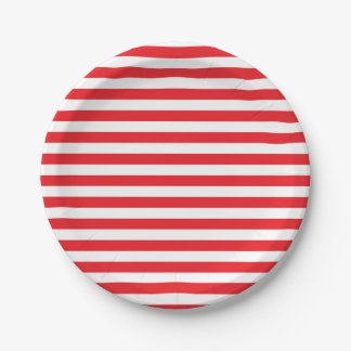 Red and White Stripes Paper Plates 7 Inch Paper Plate