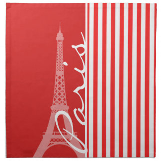 Red and White Stripes; Paris Printed Napkins