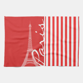 Red and White Stripes; Paris Towel