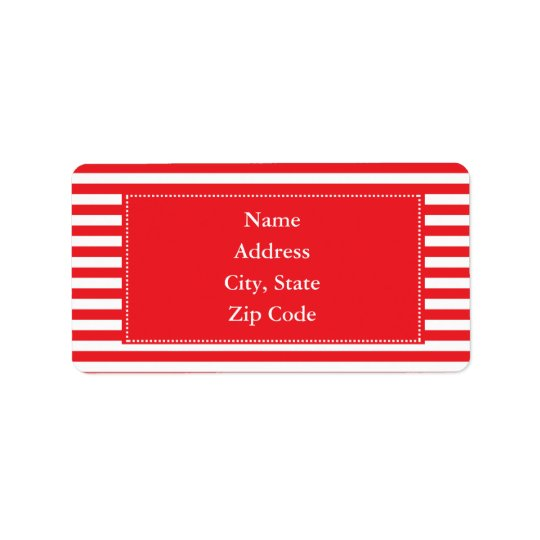 Red and White Stripes Pattern Address Label