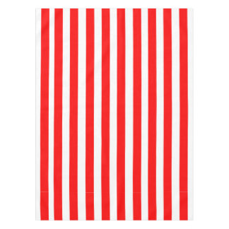 Red and White Stripes Pattern Tablecloth