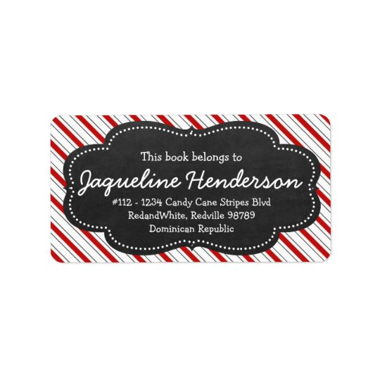 Red and White Stripes Personalised Chalk Board Address Label