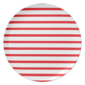 Red and White Stripes Plate
