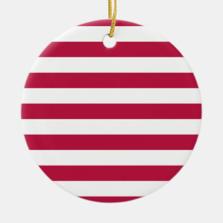 Red and White Stripes Round Ceramic Decoration