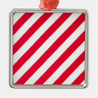 Red and white stripes Silver-Colored square decoration