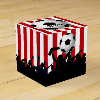 Red and White stripes Soccer Fans and football Favour Box