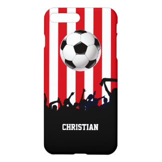 Red and White stripes Soccer Fans and football iPhone 7 Plus Case