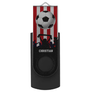 Red and White stripes Soccer Fans and football USB Flash Drive