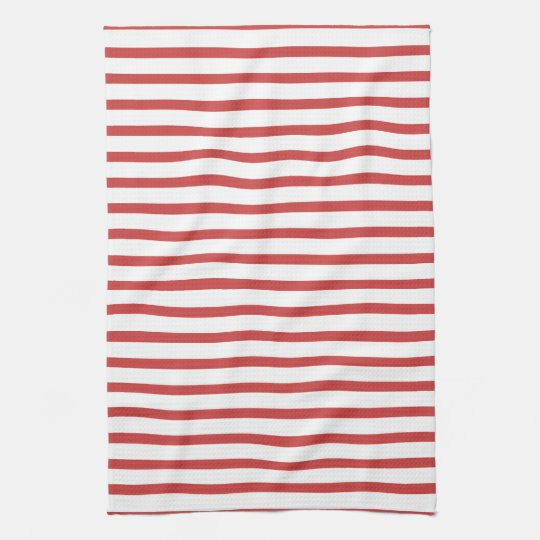 Red and White Stripes Tea Towel
