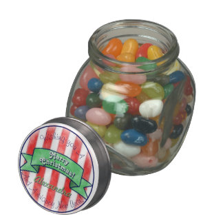 Red and White Stripes With Green Banner Glass Candy Jars