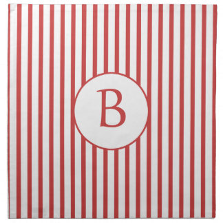 Red and White Stripes with Monogram Napkin