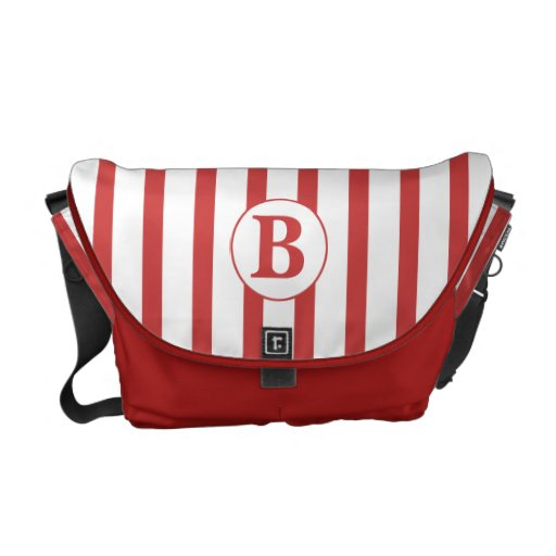 Red and White Stripes with Monogram Commuter Bag