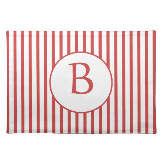 Red and White Stripes with Monogram Placemats