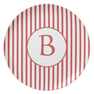 Red and White Stripes with Monogram Dinner Plates