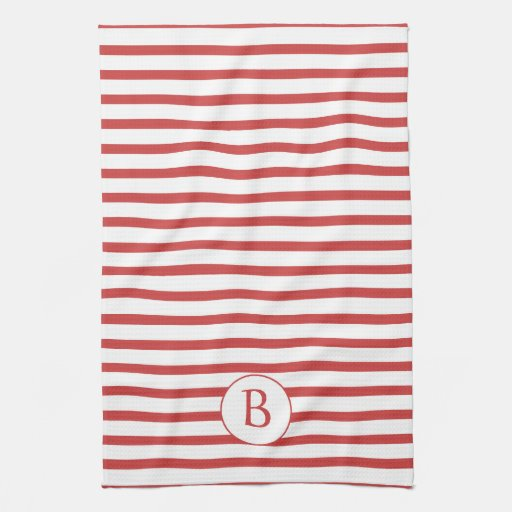 Red and White Stripes with Monogram Kitchen Towels