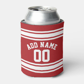 Red and White Stripes with Name and Number Can Cooler