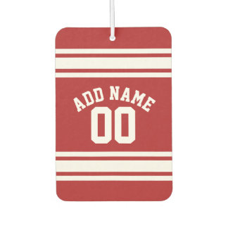 Red and White Stripes with Name and Number Car Air Freshener
