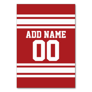 Red and White Stripes with Name and Number Table Card
