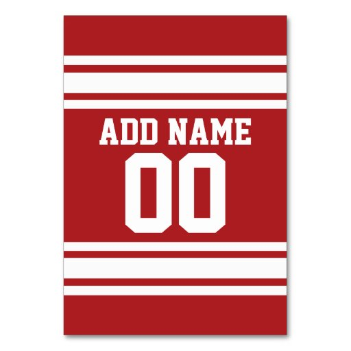 Red and White Stripes with Name and Number Table Cards
