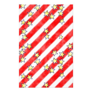 Red and White Stripes With Stars Scrapbook Paper