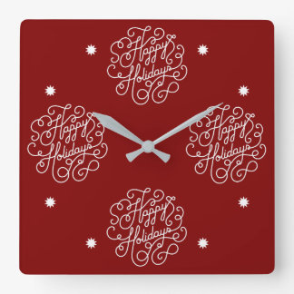 Red And White Stylish Happy Holiday Square Wall Clock