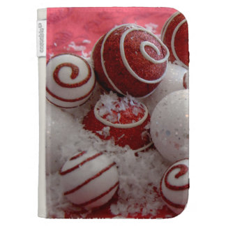 Red and White Swirls Kindle 3 Cases