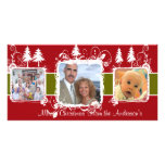 Red and White Swirly Frame Holiday Family Photo Photo Greeting Card