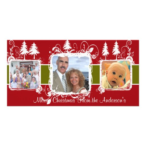 Red and White Swirly Frame Holiday Family Photo Picture Card
