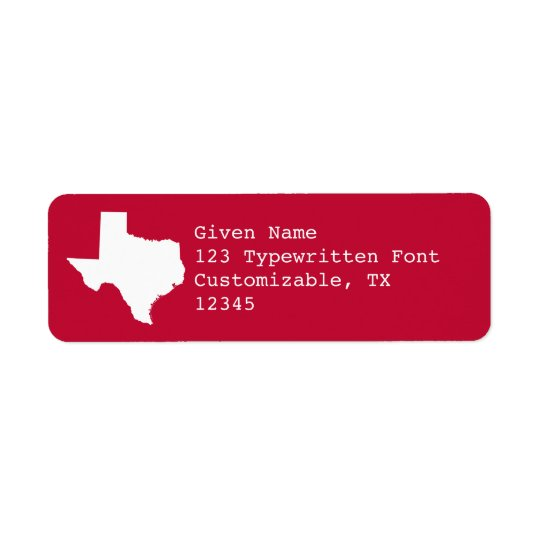 Red and White Texas Return Address Label