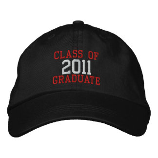 Red and White Text Class of 2011 Graduate Hat Embroidered Cap