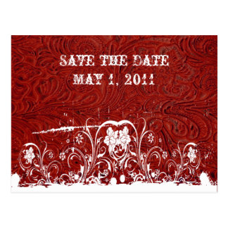 Red and White Tooled Leather Save the Date Post Card