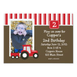 Red and White tractor Birthday Invitation