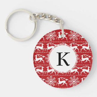 Red and White Traditional Christmas Deer Double-Sided Round Acrylic Key Ring