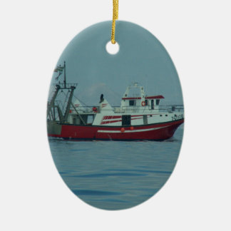 Red And White Trawler Ceramic Oval Decoration